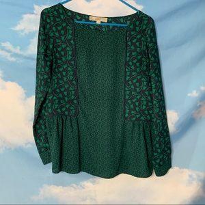 Loft- Green & Black Long Sleeve Floral Top size XS